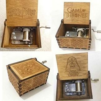 Cajas de música: caja de música tallada antigua Juego de tronos Manivela de madera de Harry Potter Star Wars - Mundo de cuna de niños italianos en Sherlock Love Greensleeves Granddaughter Disney