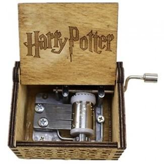 Shmily_B Harry Potter Caja de música de madera grabada a mano Magic Hogwarts Hand Cranked Movement Gift