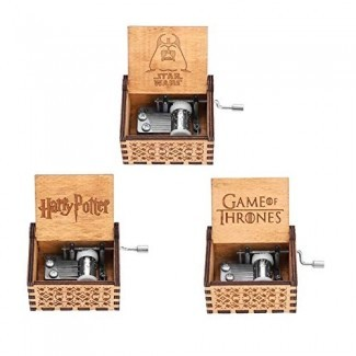 Caja de música Akozon, caja de música de manivela de madera de 1 pieza Regalo de cumpleaños mecánico clásico para manualidades