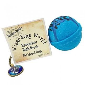 Caja de regalo de la bomba de baño de la Casa Azul de Wizard World con colgante a juego - Hecho en EE. UU.
