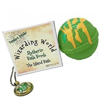 Caja de regalo de bomba de baño de la casa verde Wizard World con colgante a juego - Hecho en EE. UU.