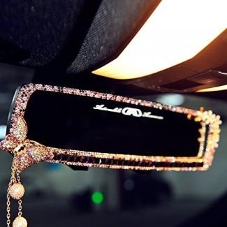FULL WERK Encanto del automóvil Espejo retrovisor brillante brillante de la mariposa del diamante Bling Bling para niñas Mujer, adornos del interior del automóvil, el mejor regalo de vacaciones de cumpleaños