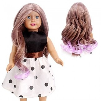"STfantasy Doll Wig para 18 ""American Girl Doll AG OG Journey Girls Gotz My Life Ombre Brown Purple Long Curly Synthetic Hair Lolita Girls Gift"