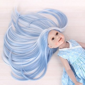 "STfantasy Doll Wig para 18 ""American Girl Doll AG OG Journey Girls Gotz My Life Ombre Blue White Two Tone Straight Synthetic Hair Girls Gift"