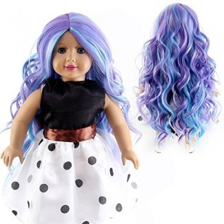 "STfantasy Doll Wig para 18 ""American Girl Doll AG OG Journey Girls Gotz My Life Ombre Purple Long Curly Synthetic Hair Girls Gift"