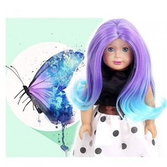 "STfantasy Doll Peluca para 18 ""American Girl Doll AG OG Journey Girls Gotz My Life Ombre Purple Blue Two Tone Curly Wavy Regalo para niñas de cabello sintético"