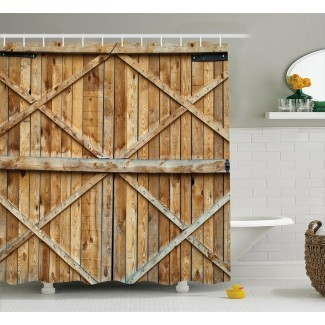 Cortina de ducha de tablones de madera rústica para puerta de madera + ganchos