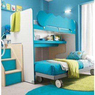 Cama alta de tamaño completo con escritorio y escaleras | Hogar