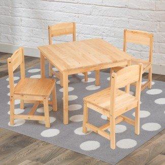 Juego de mesa y silla cuadrada para niños Farmhouse de 5 piezas