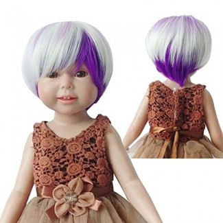 ¡Pelucas únicas! Cool BOB Green White Purple Blended Wig para 18 '' American Girl Dolls con 10-11