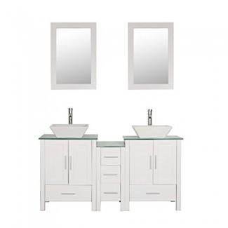 """Mueble de tocador para baño de 60 """"con doble lavabo Combo de vidrio superior Madera de MDF blanca con juego de desagüe de espejo"""