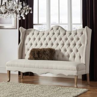 Banco de dormitorio tapizado de lino con tapizado Janell
