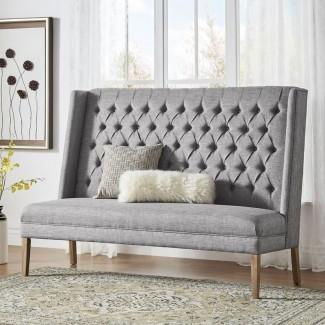 Banco de dormitorio tapizado de lino con tapizado de lino Kaitlin