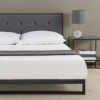 Marco de cama de plataforma de bajo perfil Zinus de 7 pulgadas / Base de colchón / con cabecera capitoné / somier opcional / Soporte de listones de madera