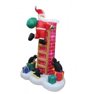 Decoración de chimenea de escalada inflable de Papá Noel de Navidad