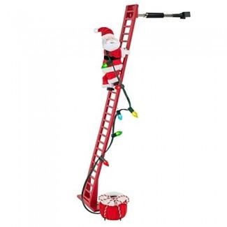 Animated Climbing Santa On Ladder Christmas Xmas Decor Decoration Interior, sube y baja la escalera, reproduce 15 villancicos con bombillas LED, Wondershop puede apagar o ajustar el sonido