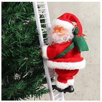 Qjoy 1 Pcs Escalera Eléctrica Escalera Santa Claus Christmas Figurine Adorno Decoración Regalos