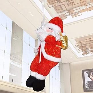 Euone Muñeca de Navidad, Navidad Papá Noel Escalada en cuerda Escalera de Navidad Árboles colgantes Decoración del hogar