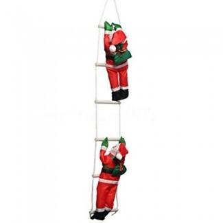 Dyna-Living Santa Claus Climbing on Ladder Decoración Navideña para Árbol de Navidad Interior Al Aire Libre Decoración de adornos colgantes Decoración de la pared de la puerta del hogar de la fiesta de Navidad
