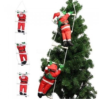 Orgrimmar 3 Papá Noel que sube la escalera de cuerda Adorno de Navidad para la fiesta del árbol de Navidad Inicio Decoración de la pared de la puerta