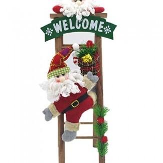 HBOS Escalada linda Papá Noel en la escalera de madera Escalera de muñeco de nieve Decoración