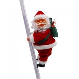 BESTOYARD Papá Noel Escalera de escalada Muñecas eléctricas Adorno de árbol de Navidad Decoración colgante de Navidad