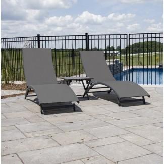 Bontang Chaise Lounge reclinable de 3 piezas con mesa