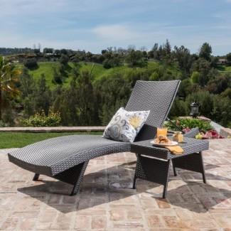 Deems Lounge ajustable de 2 piezas y sillón reclinable de mesa de mimbre