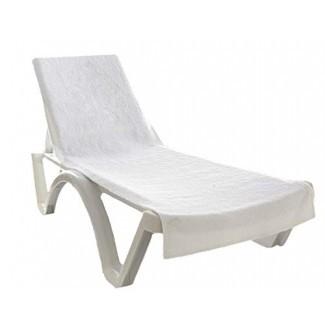 """Globaltex Fine Linens 100% algodón turco Chaise Lounge Cover de toalla de algodón con solapa (32 """"x 87"""") - (Blanco)"""