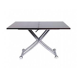 Offex Convertible Bloqueo de altura Transformando X Mesa de café y comedor en acabado nogal