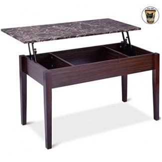 Faux Marble Lift Top Coffee Table Compartimento de almacenamiento oculto Patas de madera maciza solo por ocho24 horas