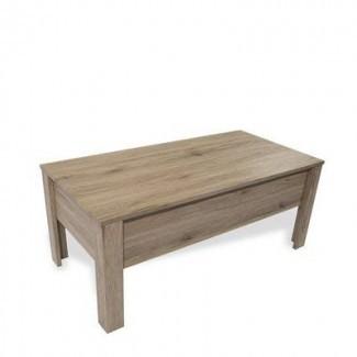 Mesa de centro de madera con almacenamiento - Mesa de centro rectangular con tapa elevable - Roble claro