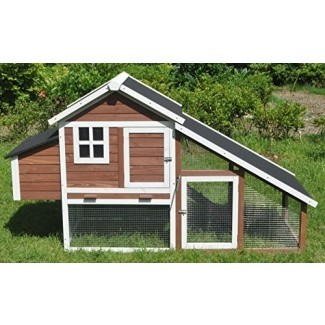 """ChickenCoopOutlet 78 """"Large Wood Chicken Coop Backyard Hen House 4-6 Pollos con Nesting Box"""