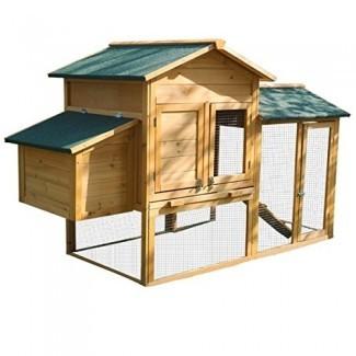 Yardeen gallinero de madera conejera conejera gallina gallina codorniz jaula para mascotas en invierno y ventoso patio al aire libre con nidal y corral jaula