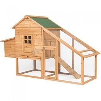 Best Choice Products 75in gallinero de madera nido gallinero gallinero jaula con rampa y puertas de bloqueo - marrón