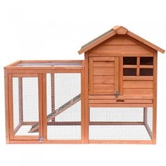 Merax Casa de madera para mascotas Conejo Conejito Madera Hutch House Gallineros Jaulas de pollo Jaula de conejo (Rabbit Hutch-NO.5)