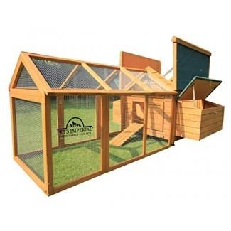 Pets Imperial Double Savoy Large Chicken Coop con 2 cajas nido y Run adecuado para hasta 10 pájaros pequeños