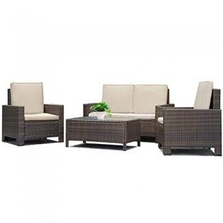 Juego de sofá para patio 4 piezas Juego de muebles para exterior Cojín de mimbre de ratán PE Muebles para sofá de jardín al aire libre con mesa de centro Juegos de bistro para patio