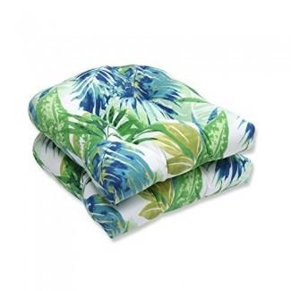 Cojín de asiento de mimbre Soleil Outdoor / Indoor de Perfect, juego de 2 azul / verde