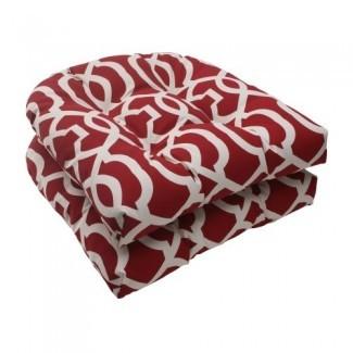Pillow Perfect Outdoor New Nuevo cojín de asiento de mimbre Geo, rojo, juego de 2