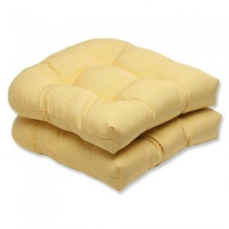 Almohada interior perfecta / Cojín de asiento de mimbre para exteriores con tela de ranúnculo de lona Sunbrella, juego de 2 amarillos