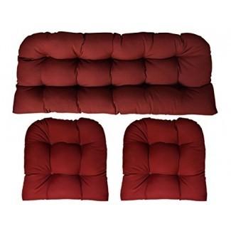"RSH DECOR Sunbrella Canvas Burgundy - Juego de 3 piezas de cojín de mimbre (cojín de loveseat de 41 ""de largo x 19"" y cojín de silla de 19 ""x 19"") - Sofá de mimbre de interior / exterior y 2 cojines de silla a juego"