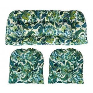 RSH Décor Cojines de mimbre para interiores / exteriores Dos en forma de U y Loveseat Juego de 3 piezas Teal Azul Verde Paisley