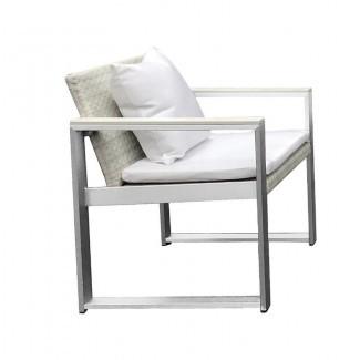 Laughlin Exquisitamente hermosa silla de comedor tapizada de aluminio anodizado para patio con cojín