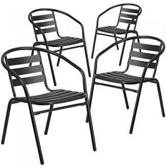 Silla apilable para restaurante de metal con muebles de latón con listones de aluminio