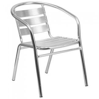 Silla apilable para restaurante de interior y exterior de aluminio resistente para muebles comerciales con respaldo triple de listones