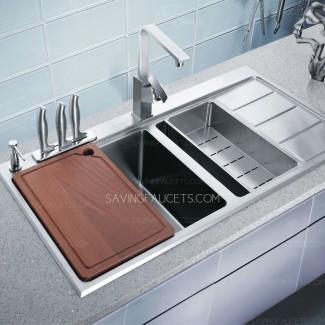 Fregadero de cocina con escurridor de acero inoxidable de doble lavabo, $ 749.99