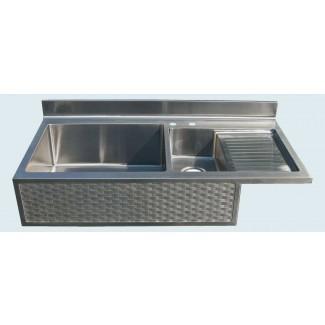 Fregadero de cocina de acero inoxidable con escurridor incorporado ...