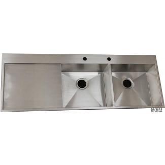 Fregadero de cocina doble bajo cubierta con escurridor - Blog Wow