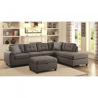 Coaster Muebles para el hogar 500413 Sala de estar Sofá seccional gris